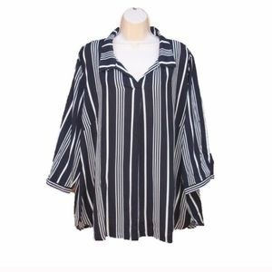 NWT Cynthia Rowley Blue White Striped Blouse
